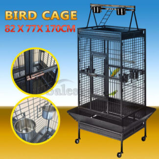 Large Black Arched Roof Pet Bird Parrot Aviary Canary Cage Wheels