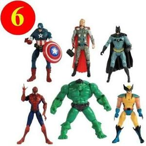 6Pcs Avengers Superhelden Hulk Captain Thor Action Figuren Geschenk Puppe