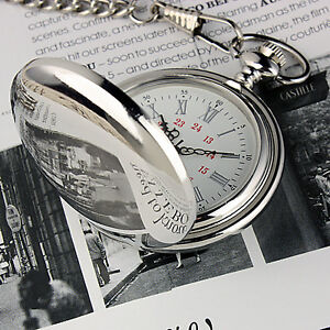 FREE SHIPPING* NEW CLASSIC SILVER VINTAGE STAINLESS Antique MENS POCKET WATCH