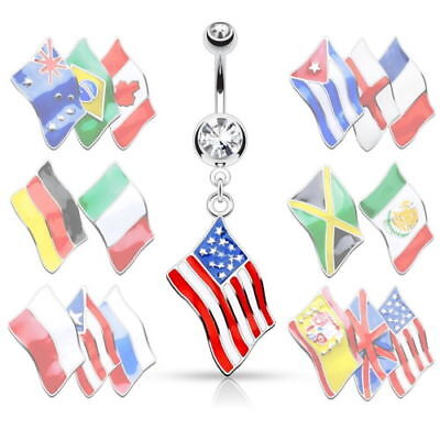 Flag Belly Ring - Flag Belly Ring 316L Surgical Steel Pierced Navel Naval Patriotic Country CZ Gem