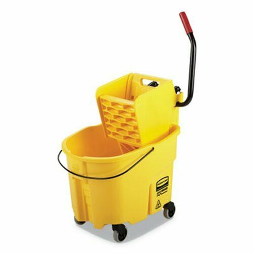 Rubbermaid WaveBrake 35 qt Bucket/Side Press Wringer, Yellow (RCPFG758088YEL)