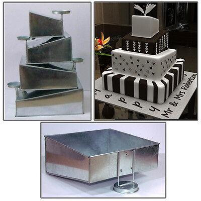 "4 Tier Mini Topsy Turvy Square Birthday Wedding Cake Tin 5"", 7"",9"",11"""