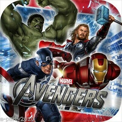 AVENGERS SMALL PAPER PLATES (8) ~ Birthday Party Supplies Dinner Lunch Hulk Thor