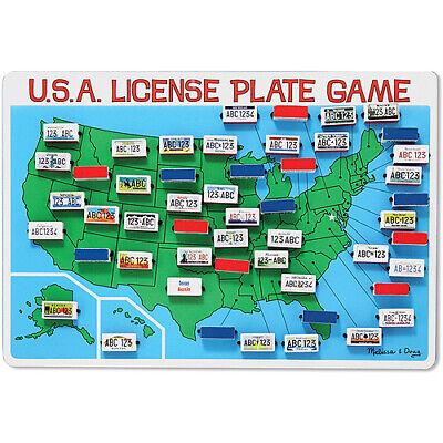 Melissa & Doug Flip to Win Travel License Plate Game - Wooden U.S. Map Game License Plate Game Map