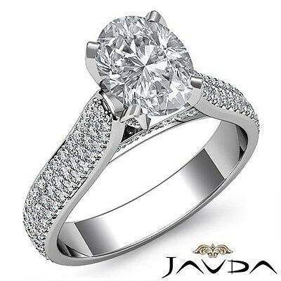3 Row Shank Pave Set Oval Cut Diamond Engagement Cathedral Ring GIA I VS2 2.95Ct