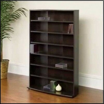 Storage Multimedia Tower DVD CD Rack Organizer Cabinet Shelf Media Stand Game