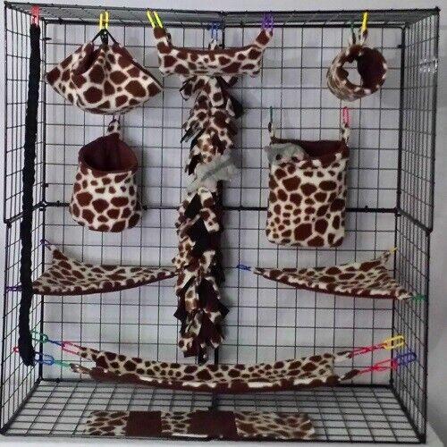 Giraffe *15 PC Sugar Glider Cage set * Rat * double layer Fleece