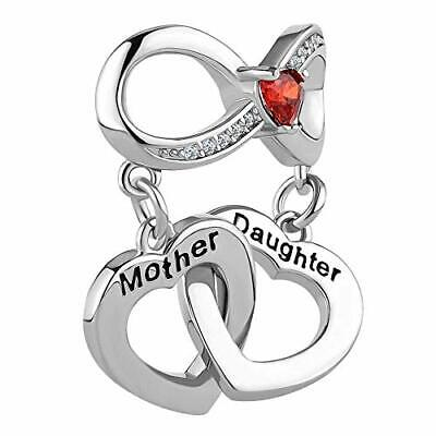 Heart Mother Daughter Charm Use With Pandora Bracelet Mom Love You To The Moon - Mother Daughter Charm Bracelets