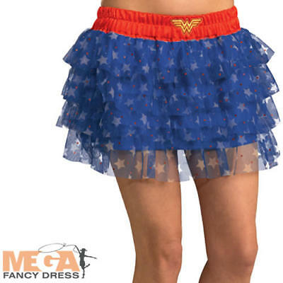 Wonder Woman Tutu Ladies Fancy Dress Superhero Comic Book Adults Costume Skirt ()
