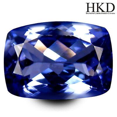 1,71 ct IF Tanzanite / Tansanit HKD Certified Cushion Cut (9 x 7 mm)  Grade AAA