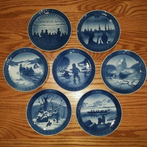 Lot Of 7 Royal Copenhagen Denmark Winter ScenesCollector Plates 1964-1968, 1975