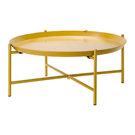 Ikea low 54cm Round mustard yellow coffee table / tray table