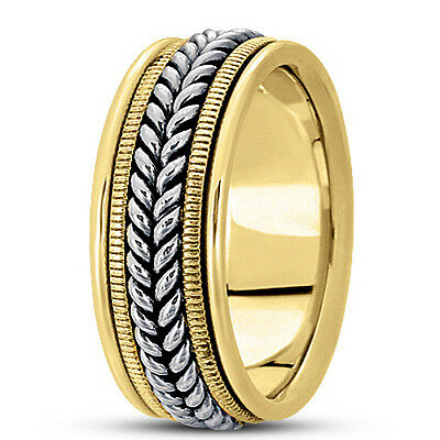 NEW LADIES 14k TWO-TONE GOLD HAND MADE FISH BRAIDED WEDDING BAND RING 7mm SIZE 6 ()