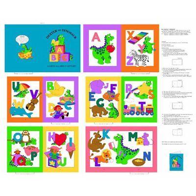 Cranston VIP ~ Dexter Dinosaur ABC Soft Learning Book ~ 100% Cotton Fabric Panel