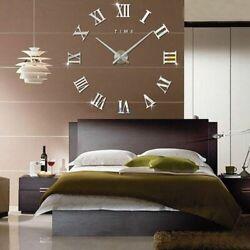 3D Large Wall Clock Mirror Sticker Home Decor Unique Gift DIY Roman Numerals