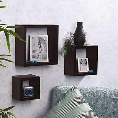 Home Floating Shelves Set of 3 Square Shelf Box Wall Mountable Display