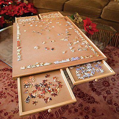 - Jumbo Size Wooden Puzzle Plateau Fiberboard Four Sliding Drawers Storage System