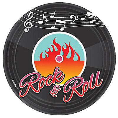 I LOVE ROCK AND ROLL Classic 50s SMALL PLATES (8) ~ Birthday Party Supplies Cake (Rock And Roll Party Supplies)