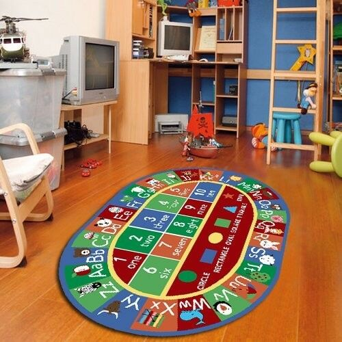 Kids Oval ABC Alphabet Numbers Educational Non Skid Area Rug