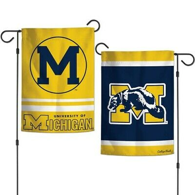 College 2 Sided Banner Flags - MICHIGAN WOLVERINES COLLEGE VAULT 2 SIDED GARDEN FLAG 12