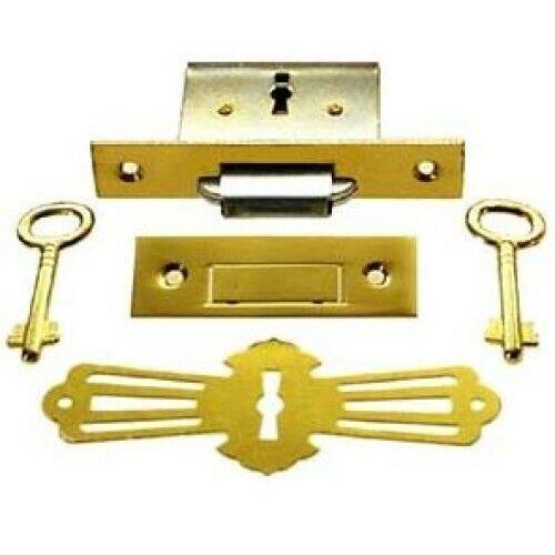 Brass Square Full Mortise Lock w/Two Skeleton Keys for Roll Top Desk
