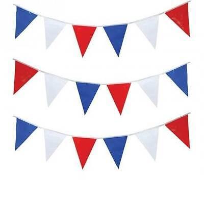 u Party Britische Dekorationen Flagge Wimpel 40m Neu (Rot, Weiß, Blau, Dekoration)