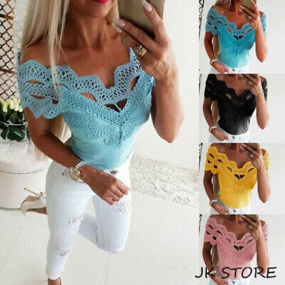 Damen Sexy Hohle T-Shirt Kurzarmshirt Bluse Clubwear Oberteile Slim Top Dr34-40