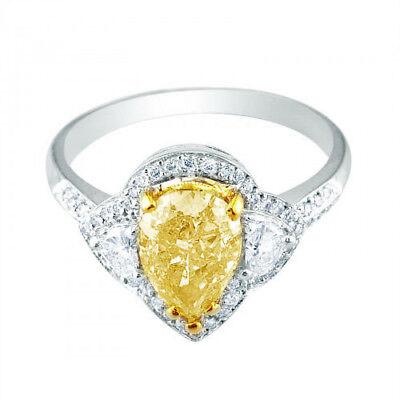 Breathtaking Fancy Yellow 2.35 CTW Pear Shape Diamond GIA certified 18K Gold