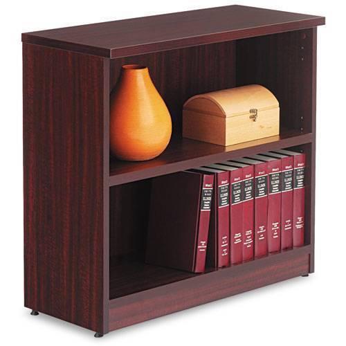 Laminate Bookcase, Two-Shelf, 31-3/4w x 14d x 29-1/2h, Mahogany Finish