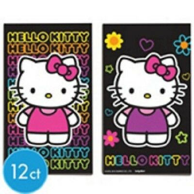 Hello Kitty Neon Birthday Party Favors Black Paper Sketch Pads 12ct (Neon Birthday)