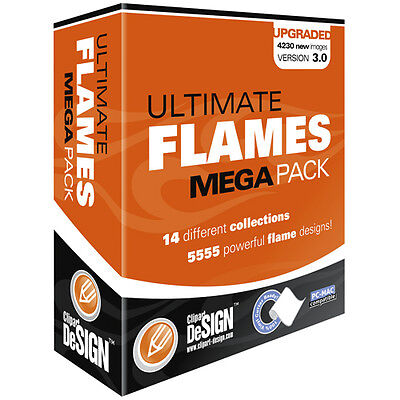 Flames Clipart-vinyl Cutter Plotter Images-eps Vector Clip Art Graphics Cd