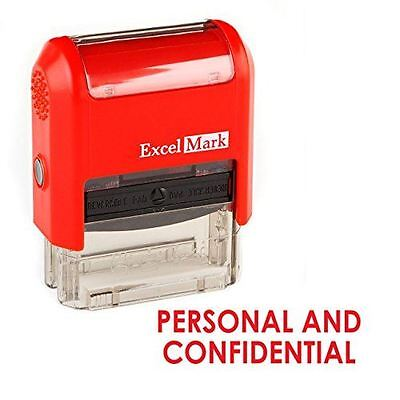 New Excelmark Personal And Confidential Self Inking Stamp Red And Blue Ink