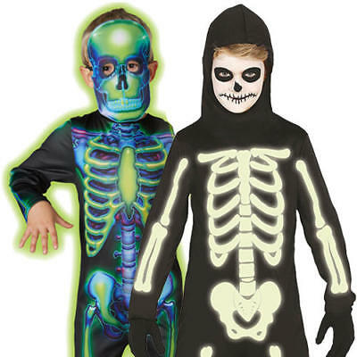 Glow In The Dark Skeleton Boys Fancy Dress Neon Kids Childs Halloween Costumes