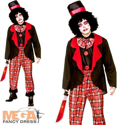 Deluxe Freaky Clown Mens Fancy Dress Halloween Spooky Circus Adults Costume (Spooky Clown Kostüm)