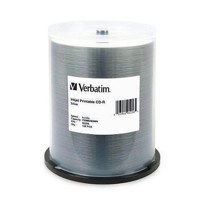 VERBATIM CD-R CDR 52X 700MB Silver Inkjet Printable 100 pack Spindle 95256