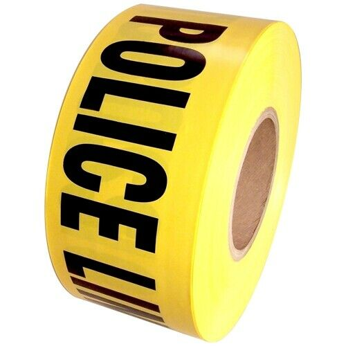 """Barricade Tape Police Line Do Not Cross Yellow 3"""" x 1000 ft Non Adhesive 3 mil"""