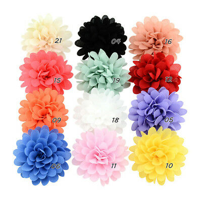 12PCS Baby Girls Bows Chiffon Flower Hair Clip Girls Toddler Babies Hairpin