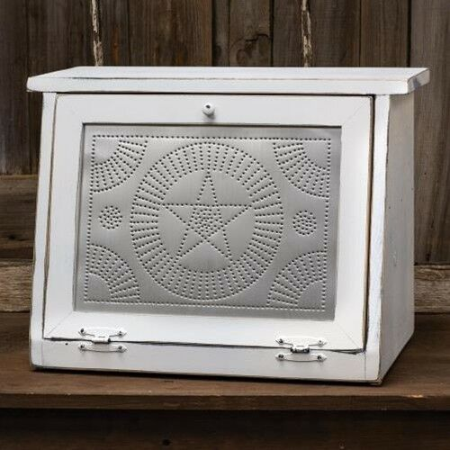 "White Bread Box Star Design Inside Shelf Farmhouse Kitchen USA Made 20"" Wood"