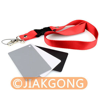 3in1 Digital Grey Card White Black 18% Gray Color White Balance Strap