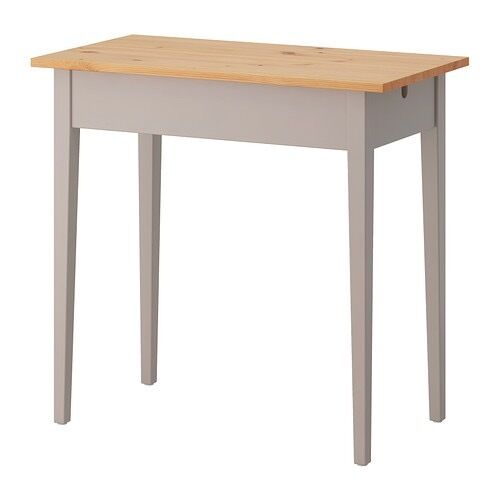 Small Laptop Table Desk Ikea Norrasen Model Solid Wood With Grey Legs And Base