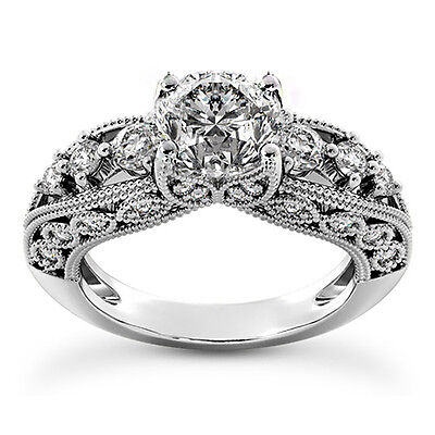 2 CT ROUND CUT DIAMOND ENGAGEMENT RING SI/D ENHANCED 14k WHITE GOLD