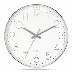 Genbaly Modern Wall Clock, Non Ticking Quality Quartz Battery Operated 12 Inch