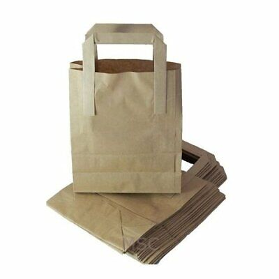 250 SMALL BROWN KRAFT PAPER SOS FOOD CARRIER BAGS WITH HANDLES PARTY TAKEAWAY