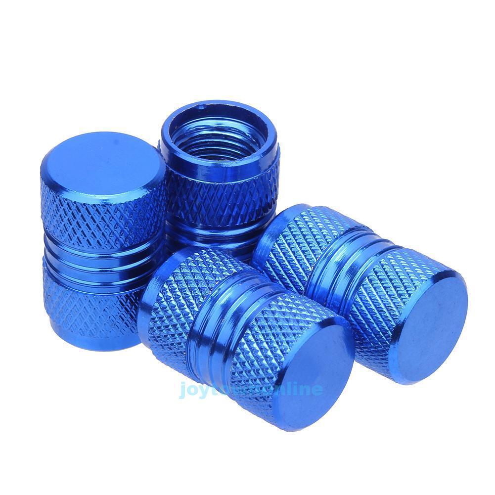 4pcs Aluminum Alloy Auto Car Tire Tyre Wheel Valve Stem Caps Dust Covers Blue
