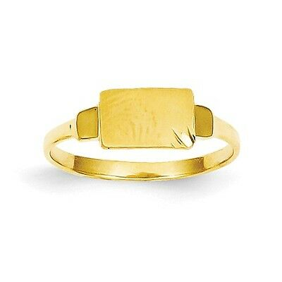 14k Yellow Gold Engravable Child's Polished & Satin Signet Ring