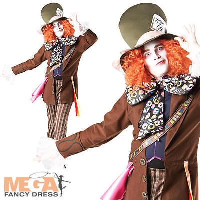 Disney Mad Hatter (Mad Hatter Alice In Wonderland Mens Fancy Dress Adult Disney Book Costume Outfit)