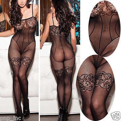 Sexy Women Floral Thigh Hi Lingerie Sleepwear Fishnet Babydoll Bodystocking OS