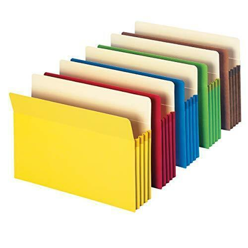 "Smead File Pocket, Straight-Cut Tab, 3-1/2"" Expansion, Letter Size, Assorted"