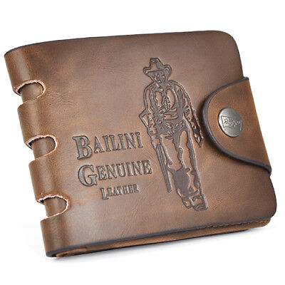 Mens Brown Leather Wallet Gift Soft Cow Boy Card Holder (Boys Wallet)