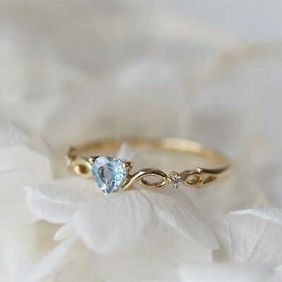 14K Solid Yellow Gold Heart Aquamarine Ring Wedding Women Men's Jewelry Sz5-10